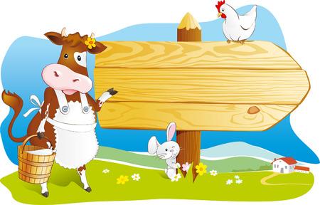 Leuke cartoon koe met melk, konijn en kip wijst houten uithangbord