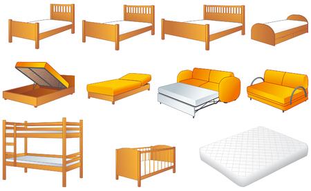 Various bedroom furniture Vectores