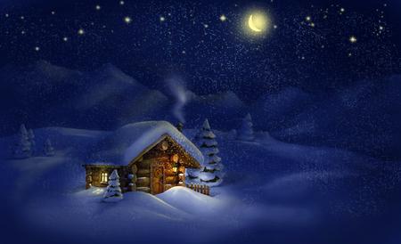 Christmas night winter landscape - wooden hut, lantern, snow, pine trees, Moon, stars  Copy space, illustration Foto de archivo