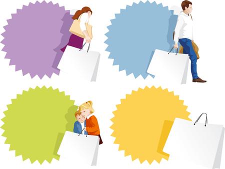 Promo badges set - fashion man, woman, kids shopping   Illustration