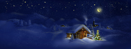 Christmas tree, lights in front of log cabin, scenic village panorama  Copy space, illustration  Suitable for postcard Фото со стока