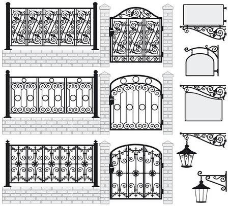 Set of iron wrought fences, gates, signboards and lanterns with decorative ornaments  Vector illustration