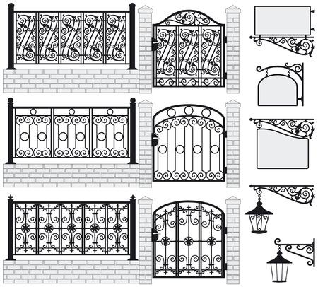 Set van smeedijzeren hekken, poorten, borden en lantaarns met decoratieve ornamenten Vector illustratie