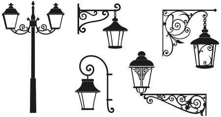 Ijzer gewrocht lantaarns met decoratieve ornamenten Vector illustratie