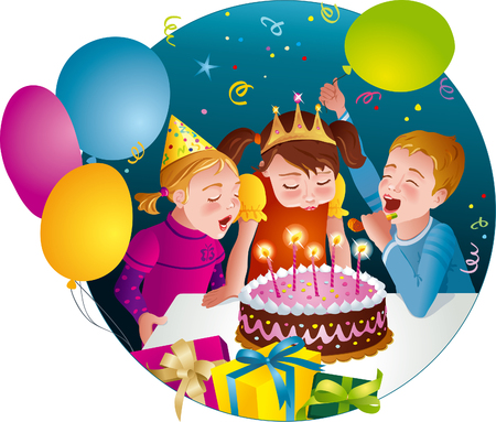 Child s birthday party - kids having fun, blowing candles on cake  Balloons, whistles, presents  Vector illustration Vectores