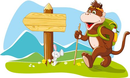 Funny cartoon monkey tourist hiking mountains, wooden signboard, copy space  Vector illustration Vectores