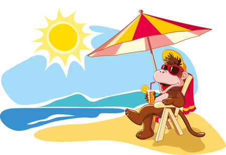 Funny cartoon monkey relaxing on beach chair by sea in summer vacation  Vector illustration Vectores