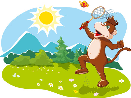 Funny cartoon monkey catching butterflies with a net, enjoying happy summer vacation, nature   Vector illustration