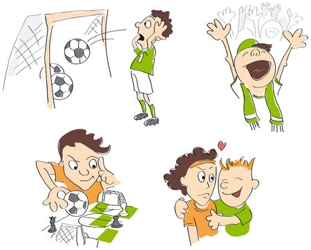Football - soccer funny caricatures - fair-play, strategy, fans, loss  Vector illustration