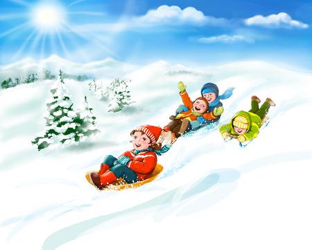 Happy kids sledding, winter fun - snow and friends. Digital illustration. Copy space Foto de archivo