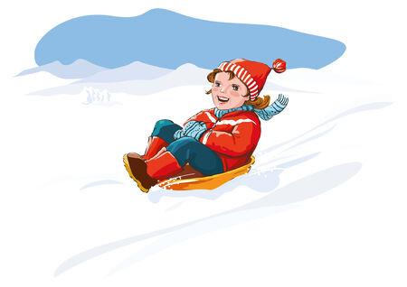 Happy kid sledding, winter snow fun.