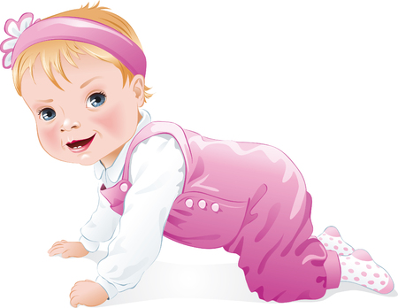 Cute baby girl smiling and crawling, isolated. Vector illustration