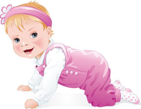 Cute Baby Mädchen lächelnd und kriechen, isoliert. Vektor-Illustration
