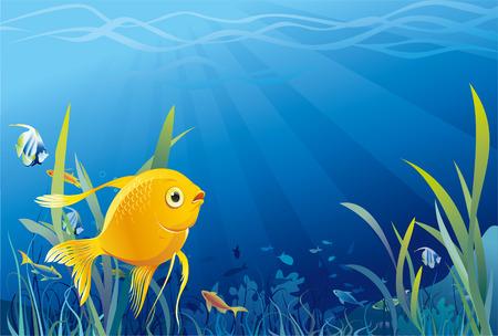 Gold fish in sea Illustration