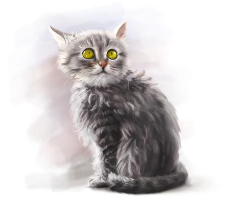 Adorable fluffy gray kitten, cute pet, cat animal - digital paint