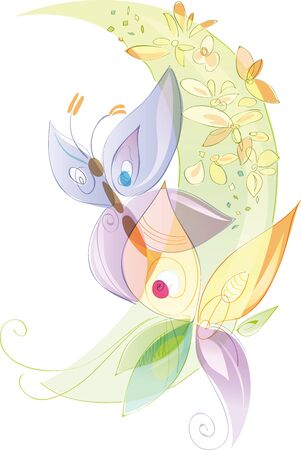 Butterflies and flowers, spring and summer season. Artistic vector illustration with transparencies, pastel colors