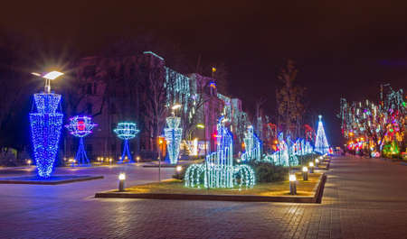 Christmas lighting at the park area.