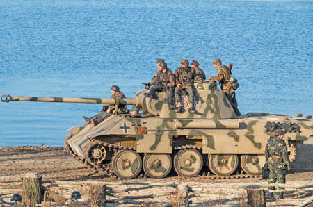 reich: DNEPROPETROVSK, UKRAINE - October 29, 2013: German motorized infantry occupied position to reflect attack of Red Army during crossing of Dnieper River in autumn of 1943