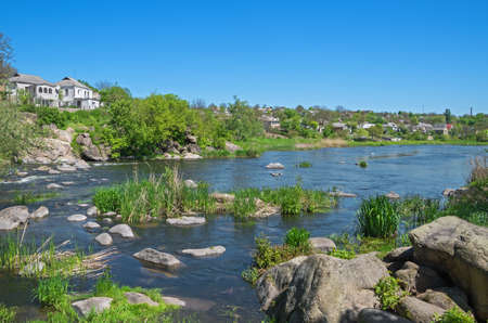 palate: The river flowing through the town in the spring in early May.