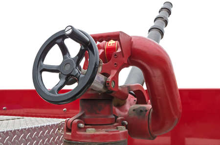 Fire water jet nosepiece located on the roof of a fire truck.