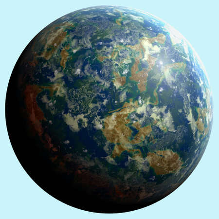 fictional: Fictional celestial sphere with a very similar atmosphere to Earth. Stock Photo