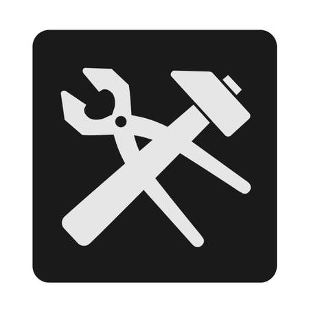 Crossed locksmith tools, hand-drawing a vector, black and white silhouette