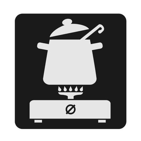 Black and white vector illustration symbolizing the place of cooking