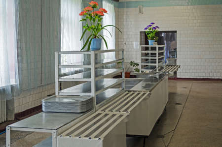 Image of soldiers canteen room for eating in the Ukrainian army
