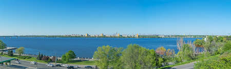 Panoramic picture of the citys waterfront on a sunny spring day