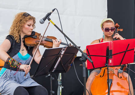 Dnepropetrovsk, Ukraine - June 29, 2013: Performance young musicians at the city festival of street art
