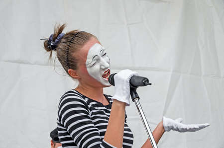 Dnepropetrovsk, Ukraine - June 29, 2013: Performance mime artists at the city festival of street art