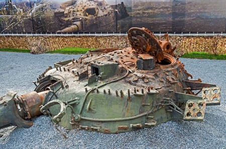 Dnepropetrovsk, Ukraine - May 19, 2016: Open air museum dedicated to war in the Donbass. Turret destroyed tank as a result of war in the Donbass