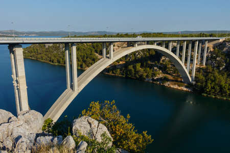 Highway and bridge in Croatia near Sibenik town.