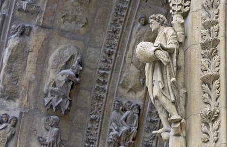 Detail of the cathedral in Rheims, France  photo