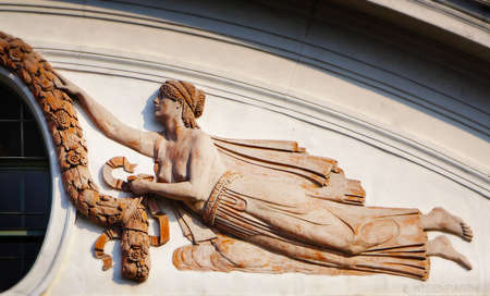 muse: Relief of Muse, architectonic detail from Vienna  Stock Photo