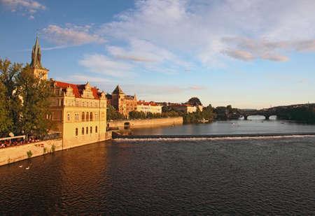 Afternoon view of Vltava riverbank, Prague Stock Photo - 13452440