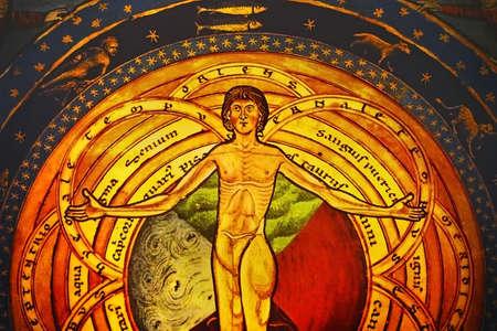 fresco: The French gothic fresco detail Stock Photo