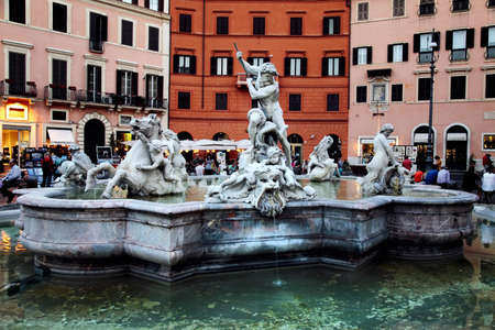 Marble fountain in Navona Square of Rome in Italy Stock Photo - 15724283