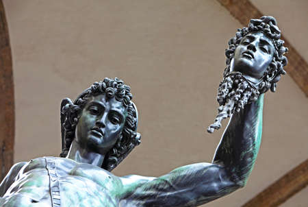 Perseus holding the head of Medusa by Benvenuto Cellini Stock Photo