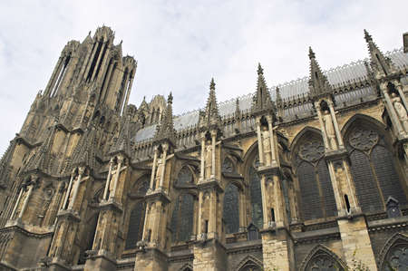 The detail of gothic cathedral, Rheims in France photo