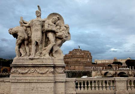 Vittorio Emanuele bridge and Sant Angelo castle in background Editorial