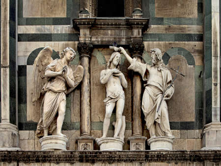 The Baptism of Christ above the Gates of Paradise, The Florence Baptistery, Italy