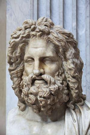 zeus: The ancient marble portrait bust of Zeus Otricoli Stock Photo
