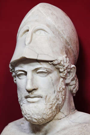Ancient marble portrait bust of Greek statesman Pericles