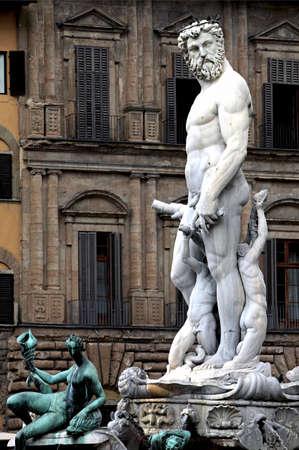 View on Piazza della Signoria with Fountain of Neptune in Florence Stock Photo - 15924743