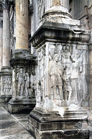 constantino: The Arch of Constantine, a triumphal arch in Rome Stock Photo