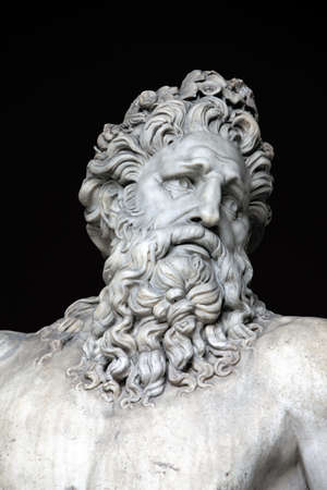 Head and shoulders detail of the ancient River Tiber sculpture