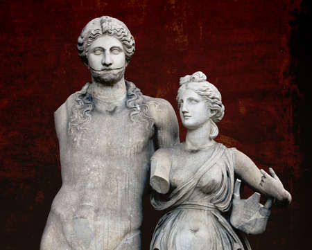 The marble sculpture of young roman couple