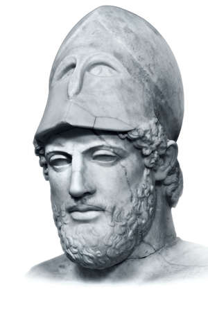 statesman: Ancient marble portrait bust of Greek statesman Pericles isolated