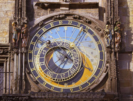 The astronomical clock detail in Prague Stock Photo
